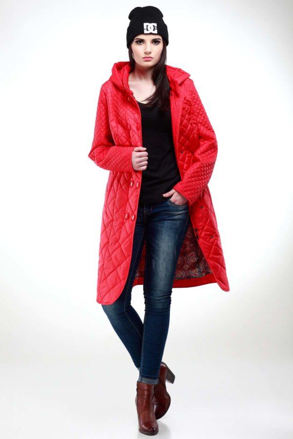 Пальто стьогане Аннет, memory oil яскраво-червоний матовий