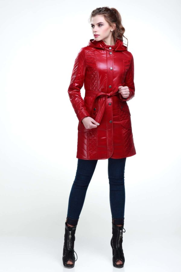 Стеганое пальто Бриджит темно красный