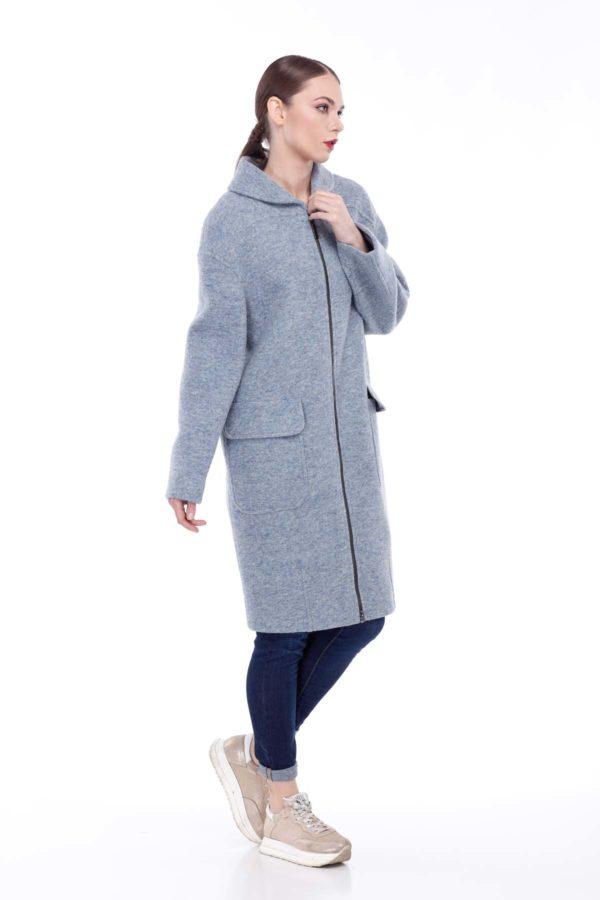 Пальто Аллегра, шерсть Италия, серо-голубой