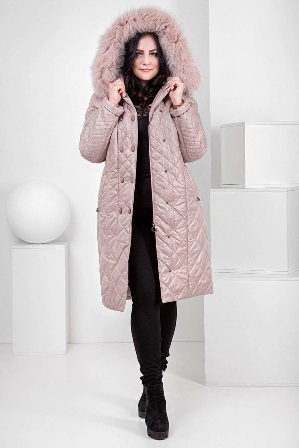 Зимнее стеганое пальто Аннет Зима, латте