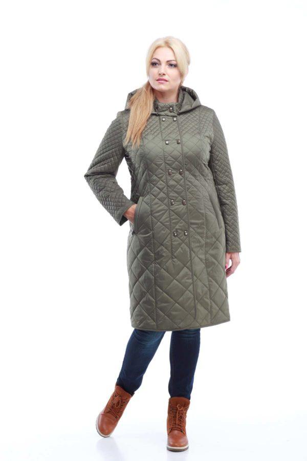 Пальто стеганое Аннет, оливка