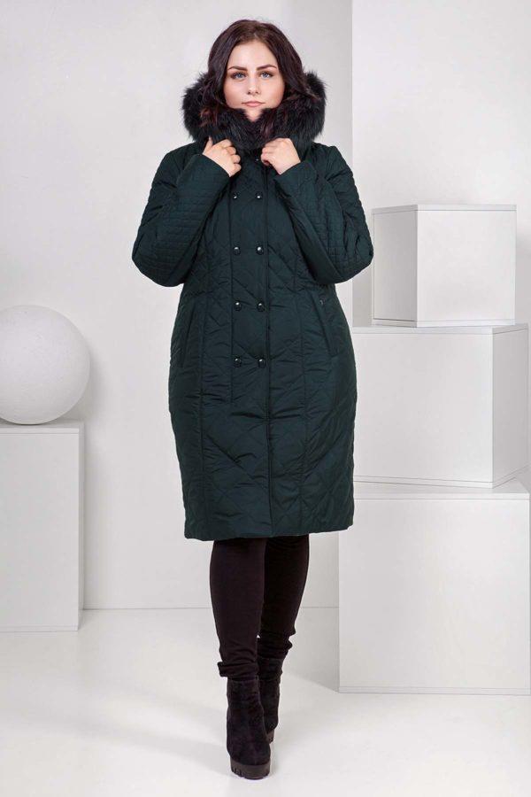 Зимнее стеганое пальто Аннет Зима, темная бутылка