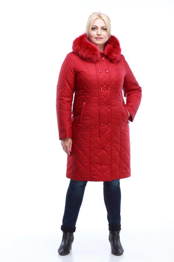 Зимнее стеганое пальто Аннет Зима, темно-красный
