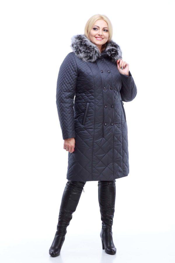 Зимнее стеганое пальто Аннет Зима, темно синий