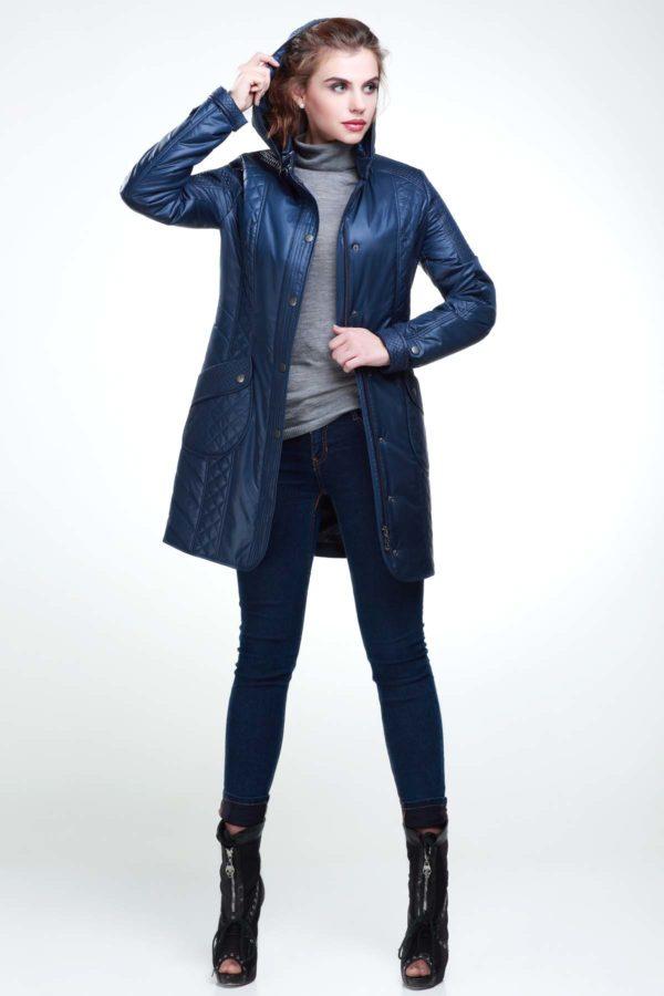 Стеганое пальто Бриджит темно темно синий