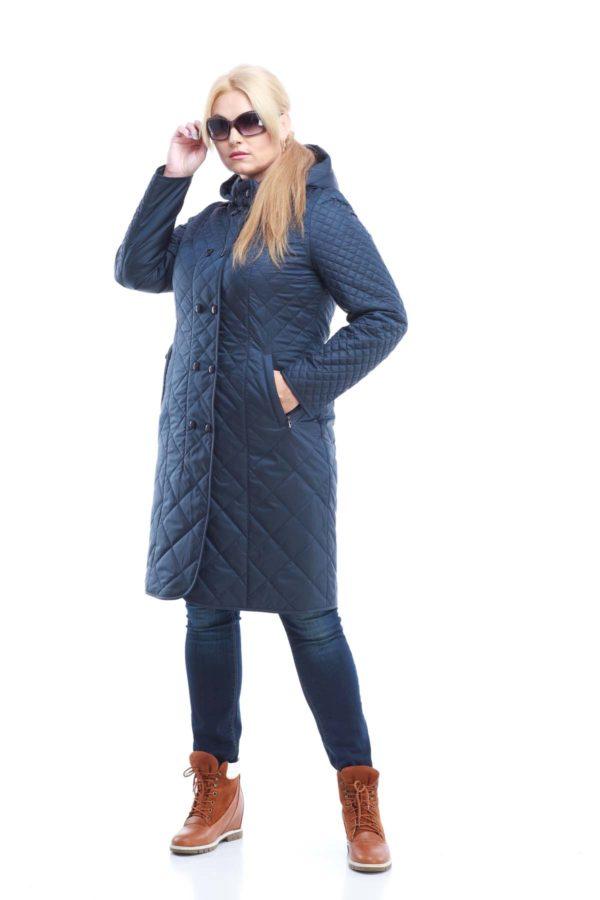 Пальто стьогане Аннет, memory oil темно-синій матовий