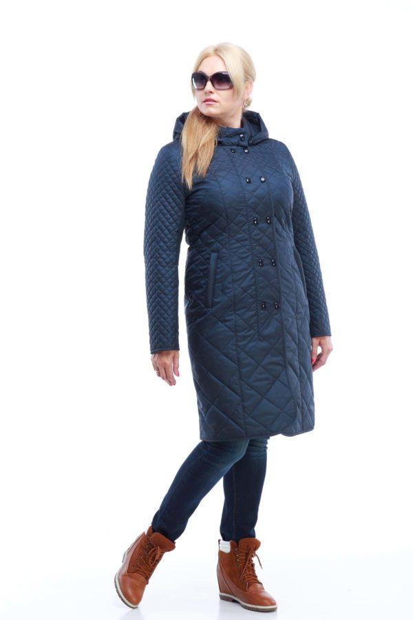 Пальто стеганое Аннет, темно-синий матовый