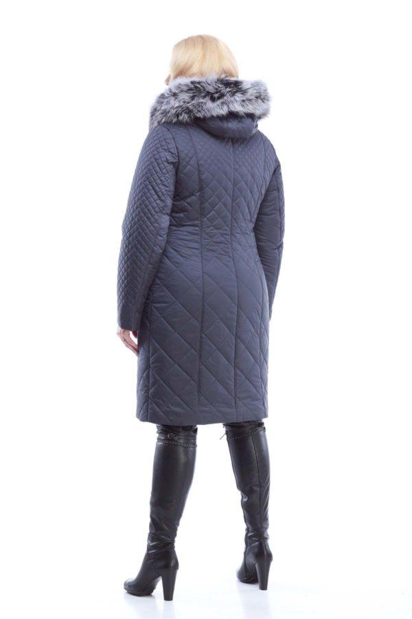 Зимове стьогане пальто Аннет Зима, memory oil темно-синій