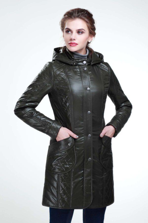 Стеганое пальто Бриджит темно темно темный хаки