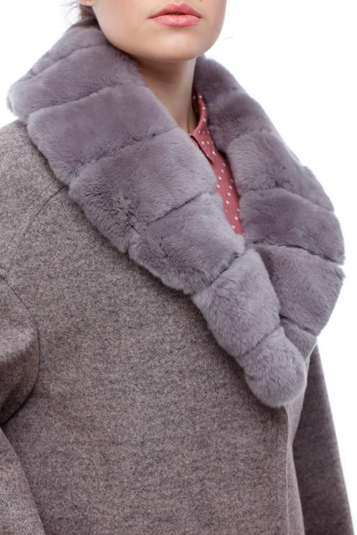 Зимове пальто Монро сіро-рожевий