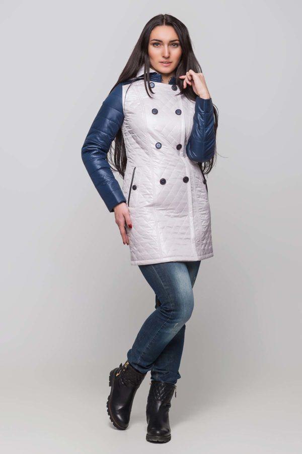 Куртка Диана пломбир+темно синий