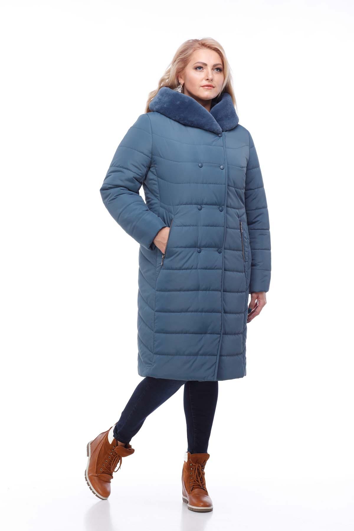 Зимове пальто стьогане Кім Зима, кролик сіро-синій