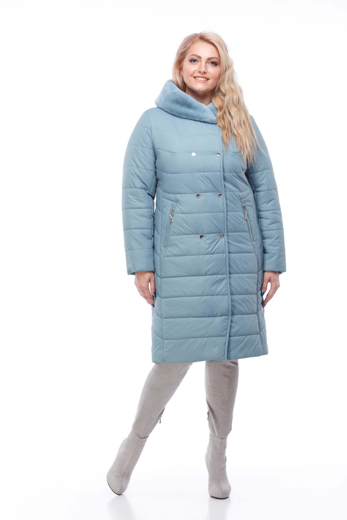 Зимове пальто стьогане Кім Зима, кролик аквамарин