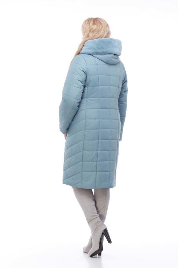 Зимнее пальто Ким кролик Зима аквамарин