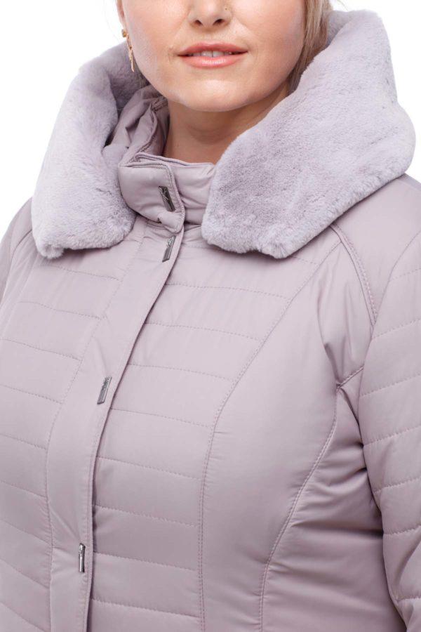 Пальто стеганое Софи Зима кролик сиренево-дымчатый