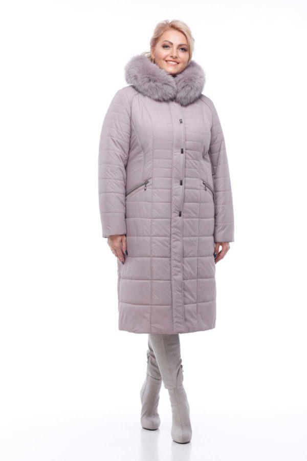 Зимнее пальто Софи Зима, песец-хвост сиренево-дымчатый