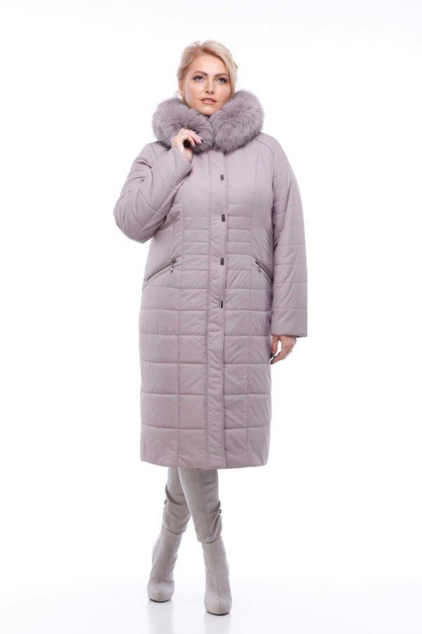 Зимове пальто Софі Зима, песець-хвіст бузково-димчатий