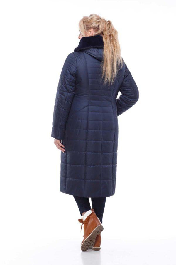 Пальто стеганое Софи Зима кролик темно-синий