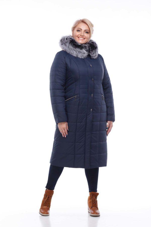 Зимнее пальто Софи Зима, песец-хвост темно-синий