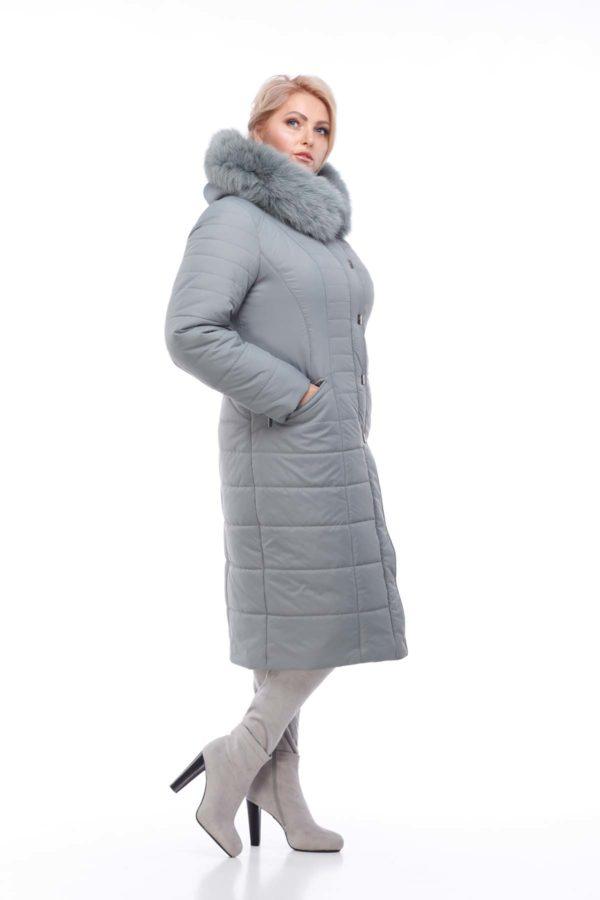 Зимнее пальто Софи Зима, песец-хвост фисташки