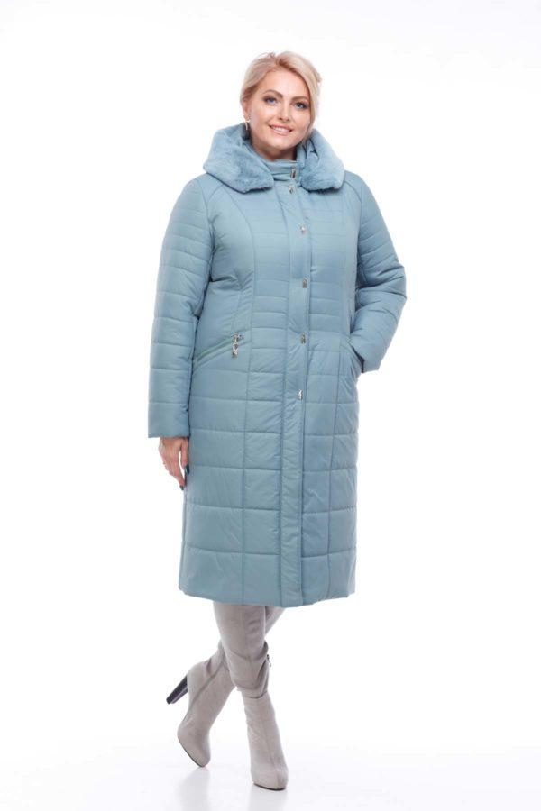 Пальто стеганое Софи Зима кролик аквамарин