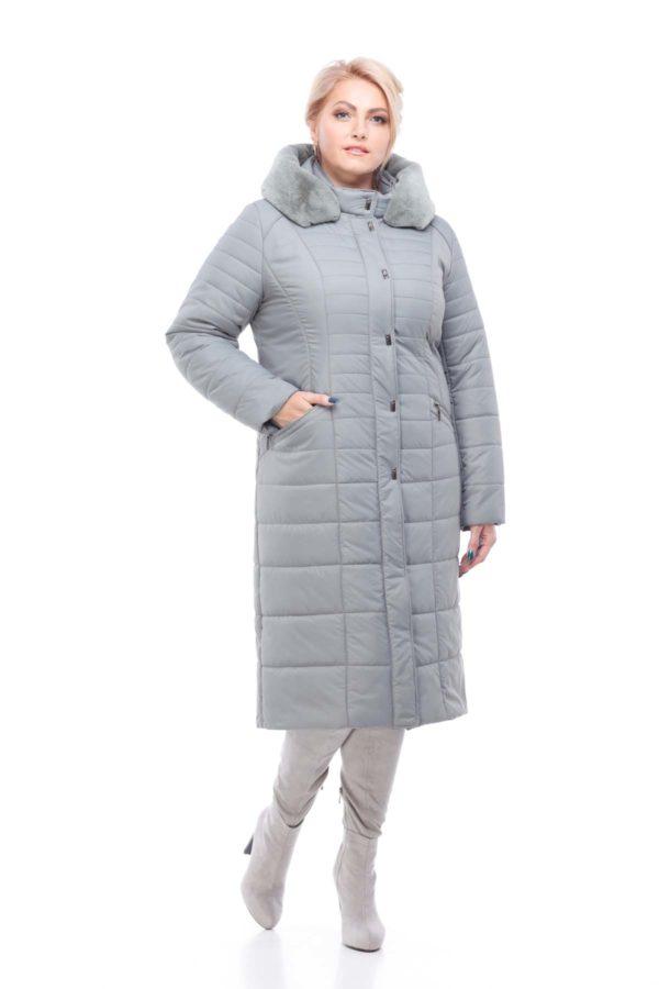 Пальто стеганое Софи Зима кролик фисташки