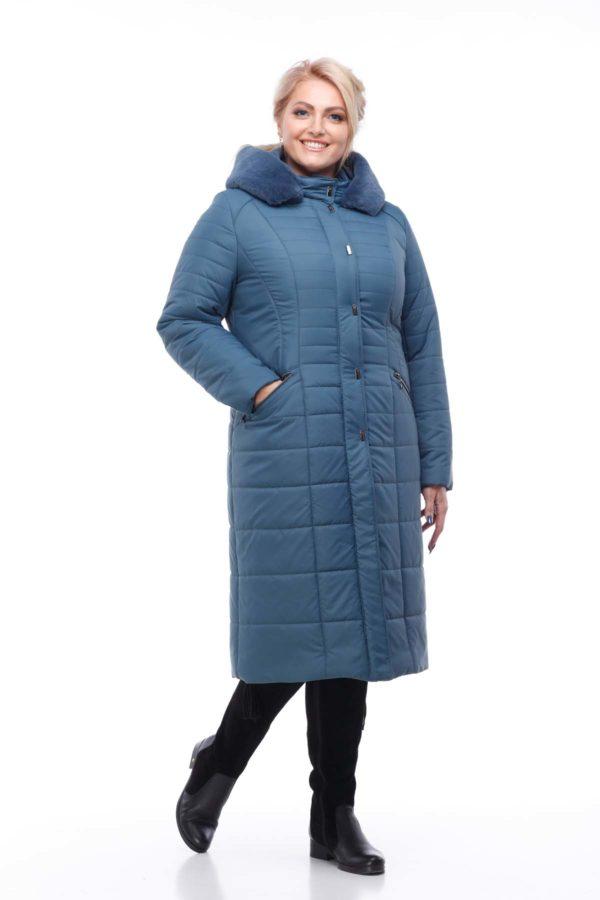 Пальто стеганое Софи Зима кролик серо-синий