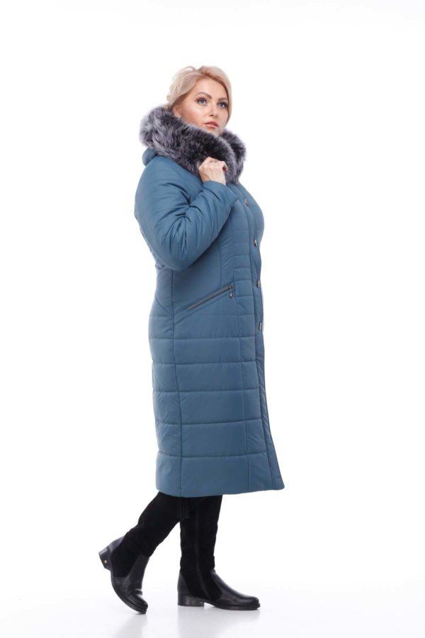 Зимнее пальто Софи Зима, песец-хвост серо-синий