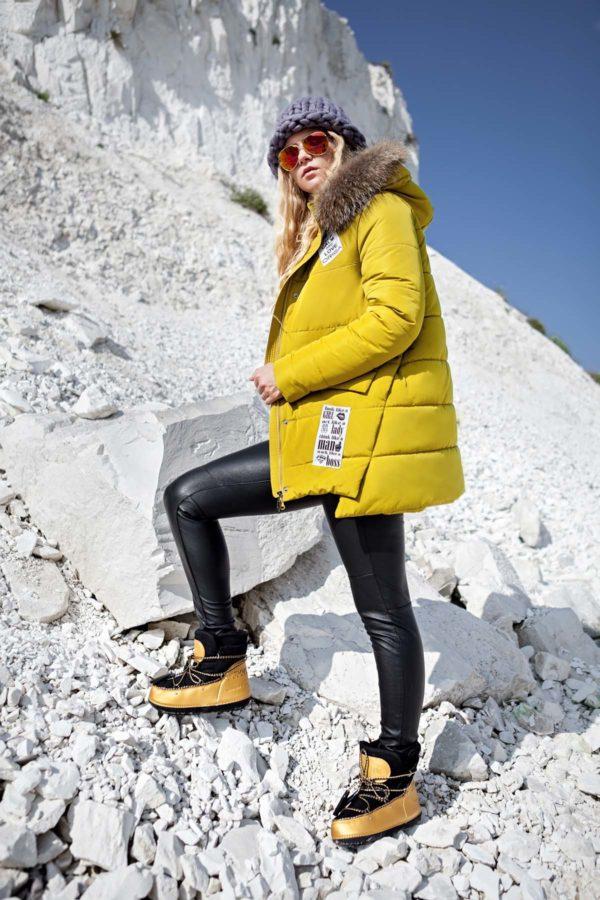 Зимняя куртка ЮТА енот лайм