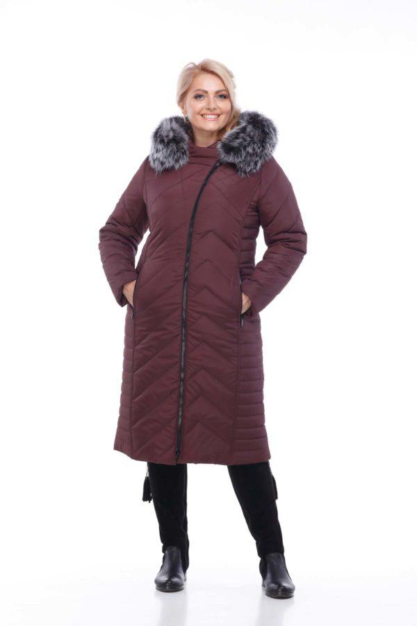 Зимнее пальто Мира песец двухцветный Зима марсала