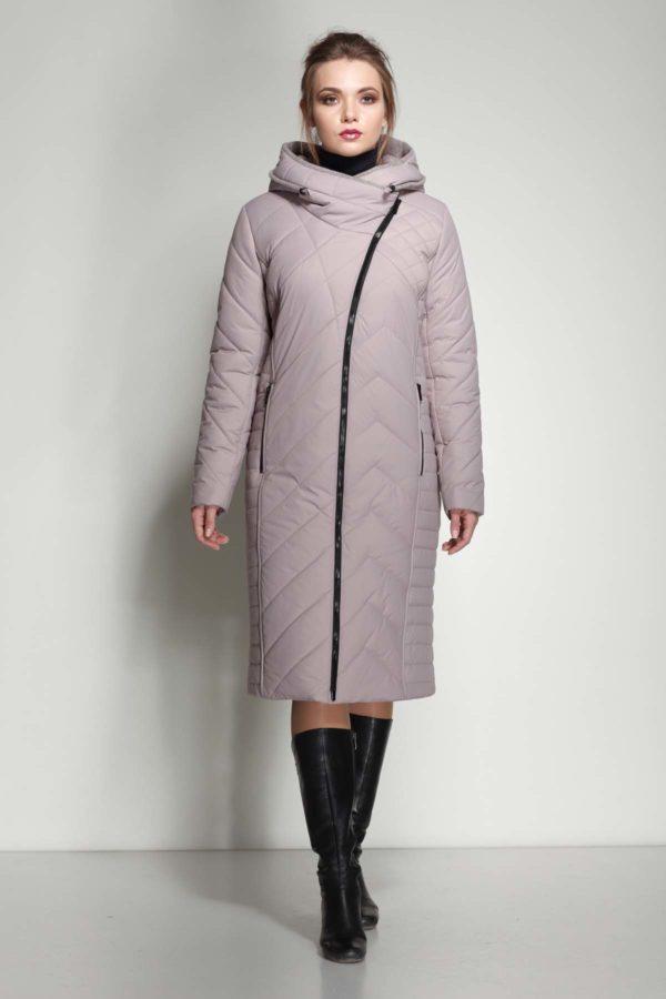 Зимнее пальто Мира шерсть сиренево-дымчатый