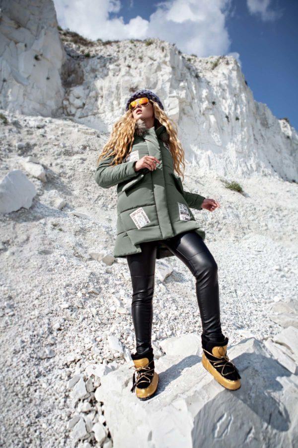 Зимняя куртка ЮТА енот фисташки
