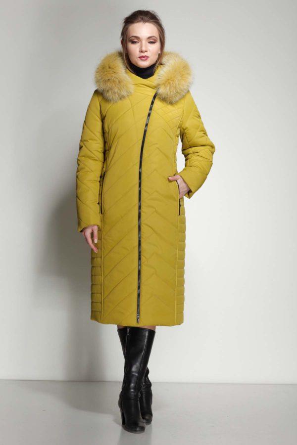 Зимнее пальто Мира песец Зима лайм