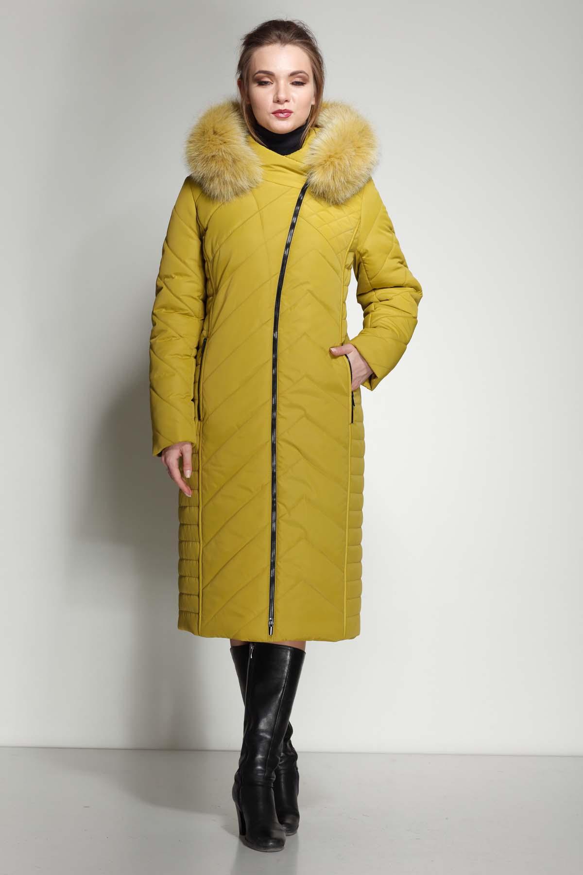 Зимове пальто Міра песець лайм