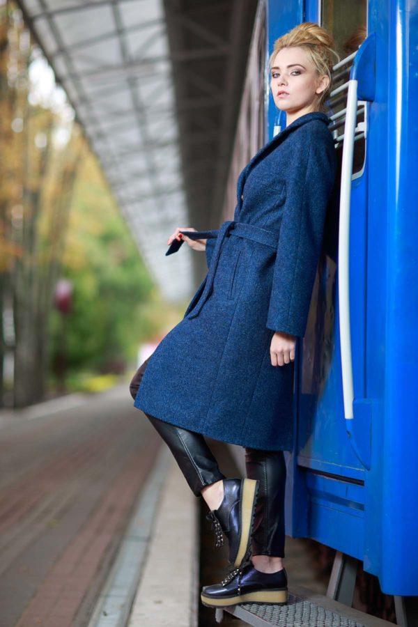 Зимнее пальто Манхэттен, шерсть синий