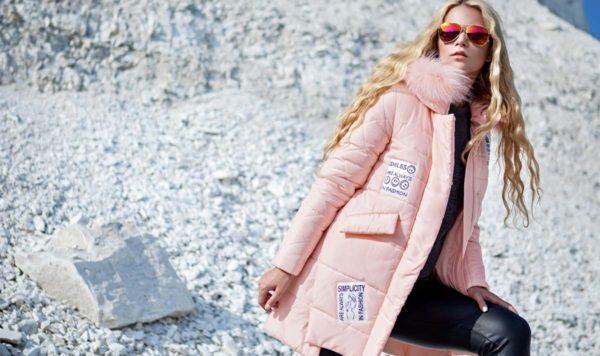 Зимняя куртка ЮТА песец-альбинос персиково-розовый
