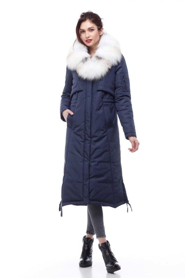 Зимове пальто Кенді з хутром темно-сине