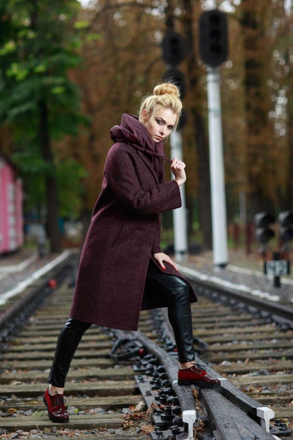Зимнее пальто Манхэттен, шерсть марсала