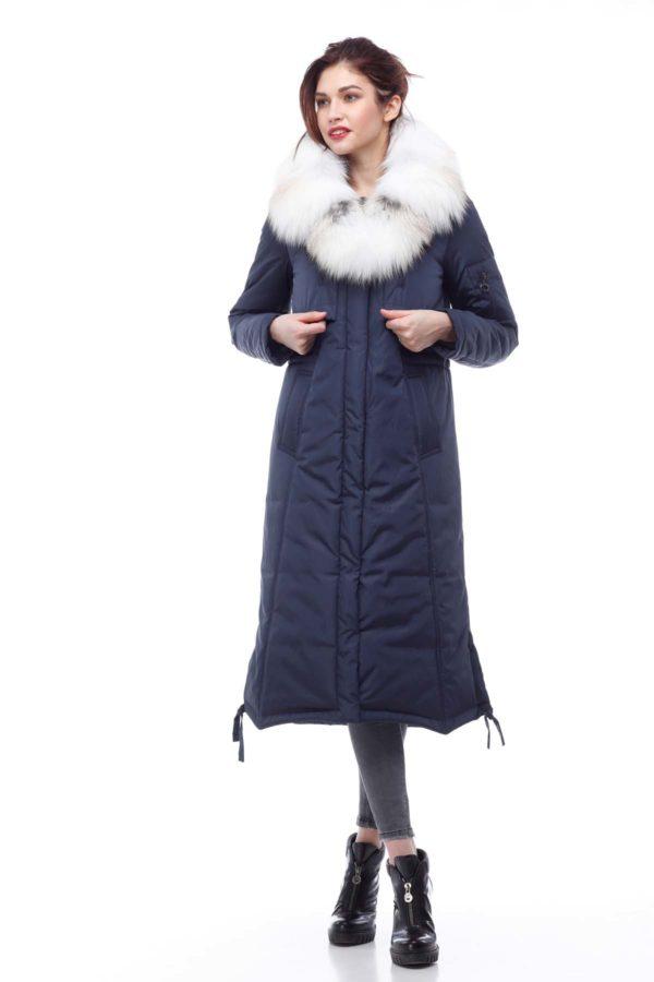 Зимнее пальто стеганое Кэнди, темно-синий лиса шкура