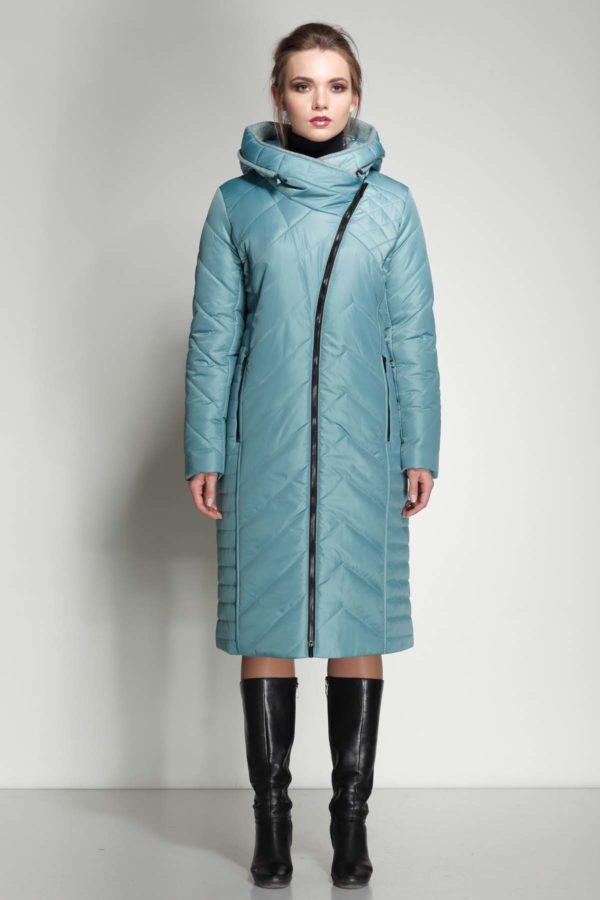 Зимнее пальто Мира шерсть аквамарин