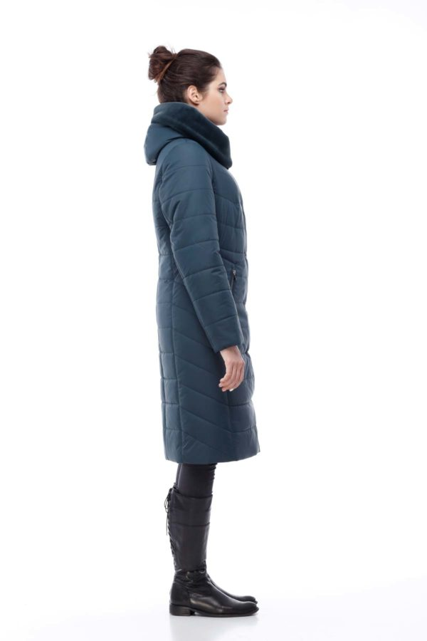 Зимнее пальто Ким кролик Зима темная бутылка
