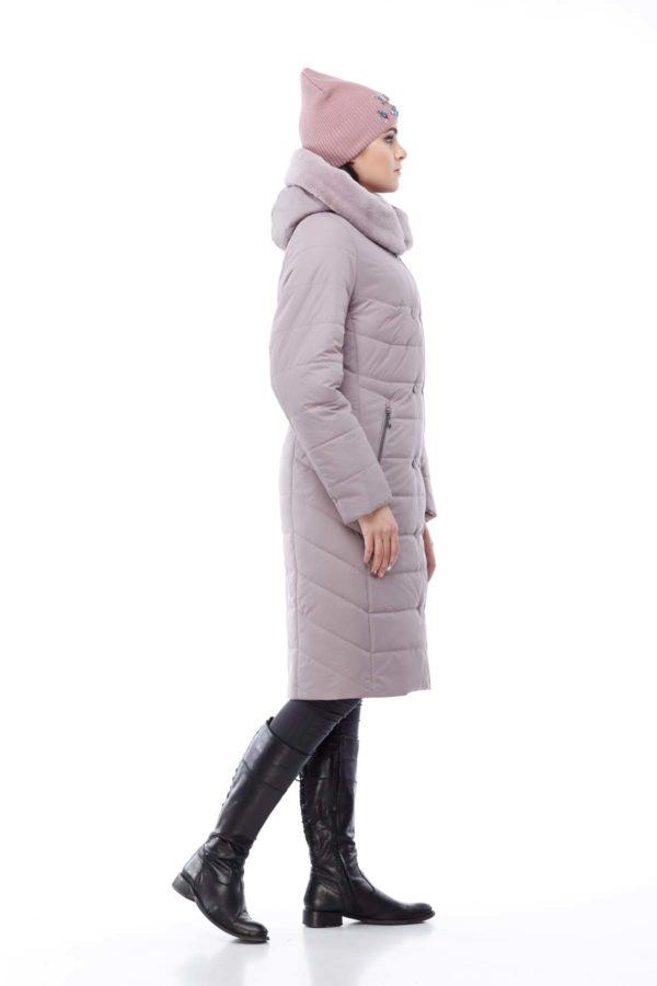 Зимнее пальто Ким кролик Зима сиренево-дымчатый