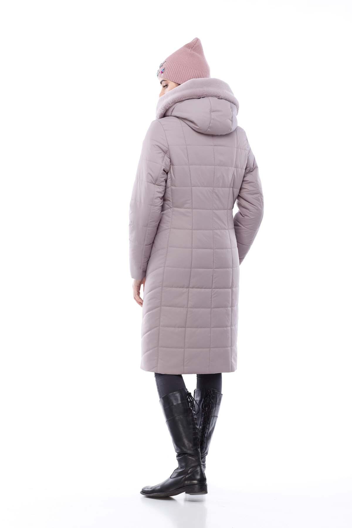 Зимове пальто стьогане Кім Зима, кролик бузково-димчатий