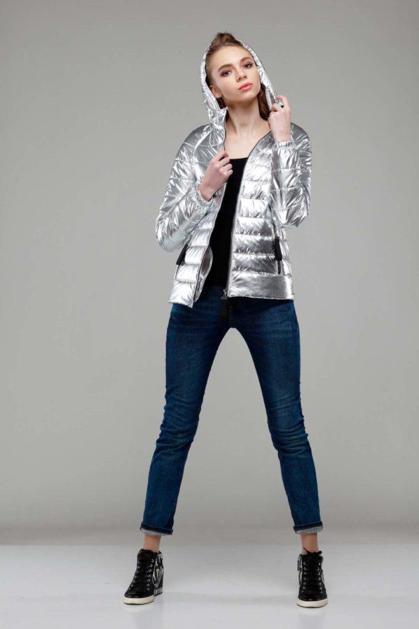 Куртка Уна фольга плащевка серебро