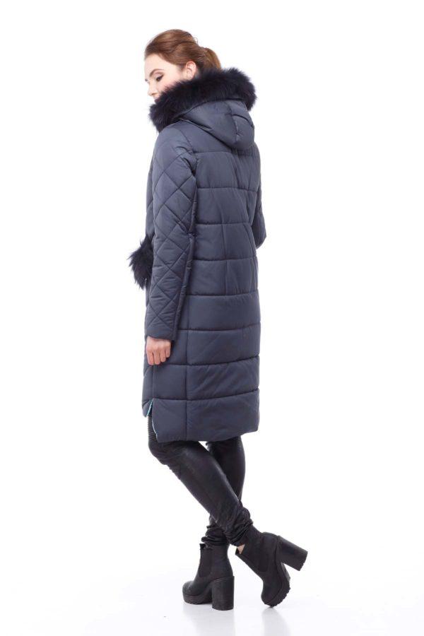 Зимнее пальто стеганое Монтана енот в цвет графит