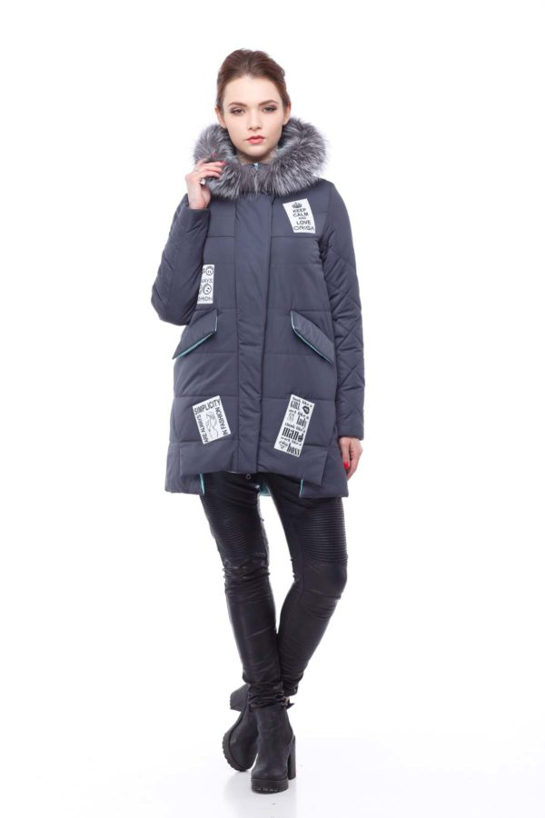 Зимняя куртка ЮТА чернобурка графит