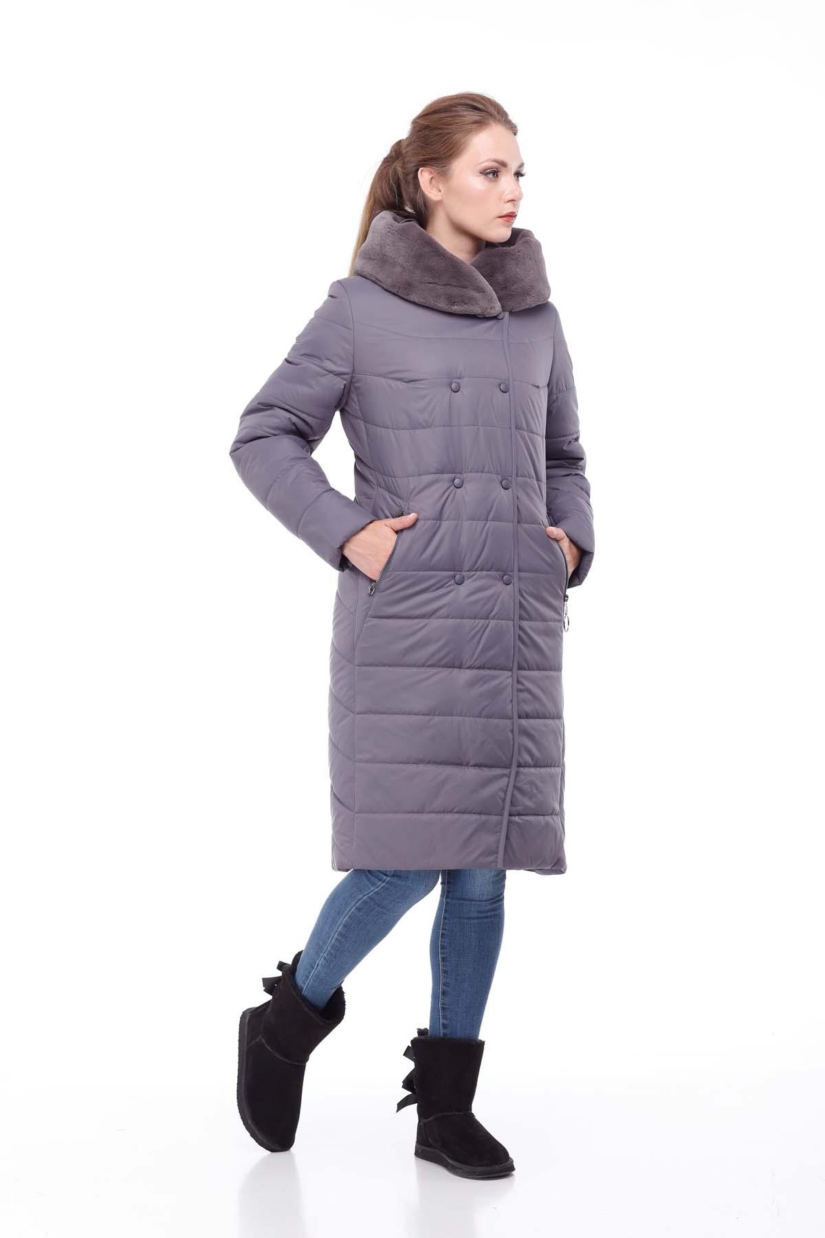 Зимове пальто стьогане Кім Зима, кролик антрацит