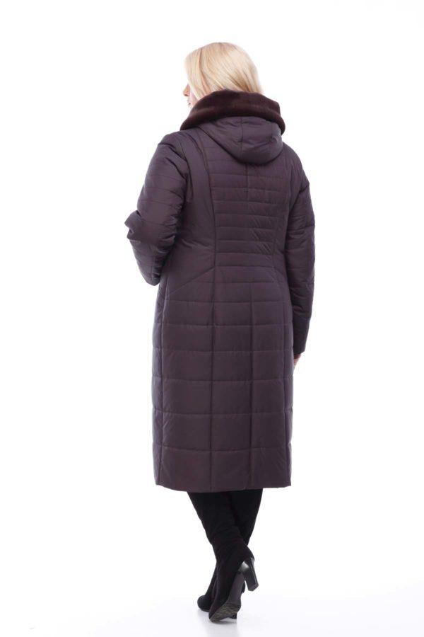 Пальто стеганое Софи Зима кролик шоколад