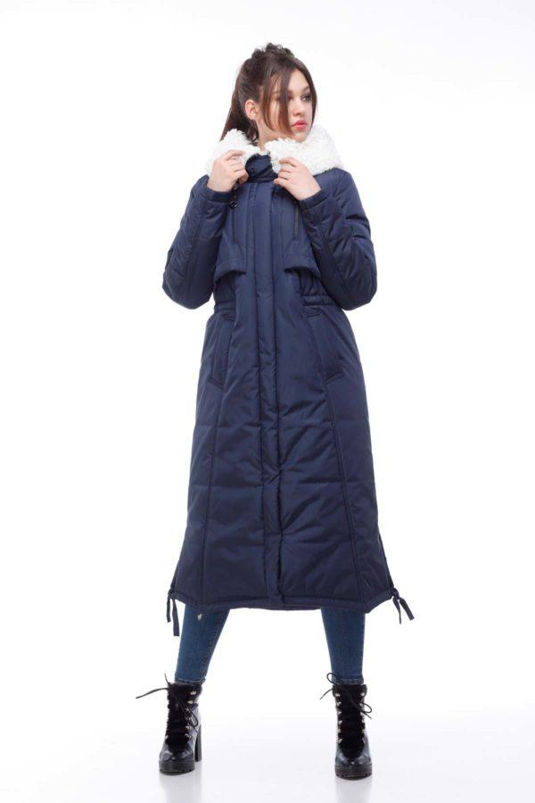 Зимнее пальто стеганое Кэнди, темно-синий баран