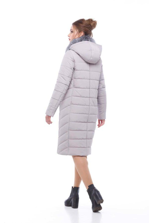 Зимнее пальто Ким чернобурка Зима лаванда